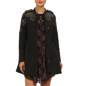 Free People Embroidered Sergeant Coat